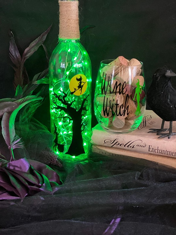 Halloween Wine Witch Glass and Bottle Class!