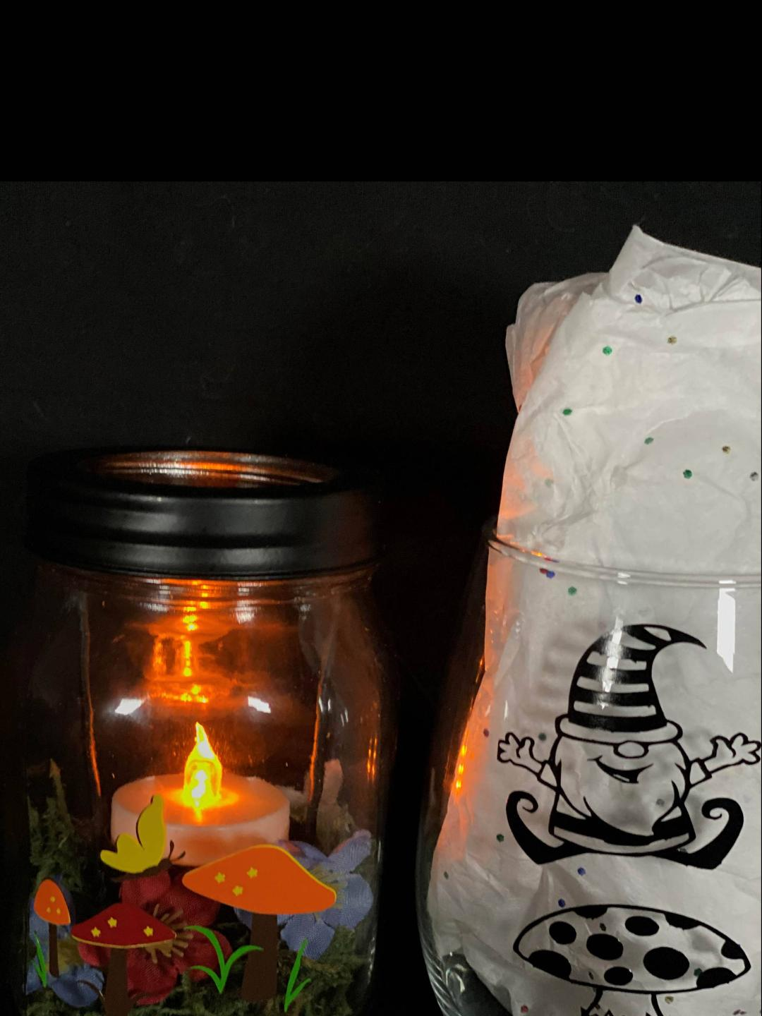 SOLD OUT! Gnome Lighted Jar and Glass Class!