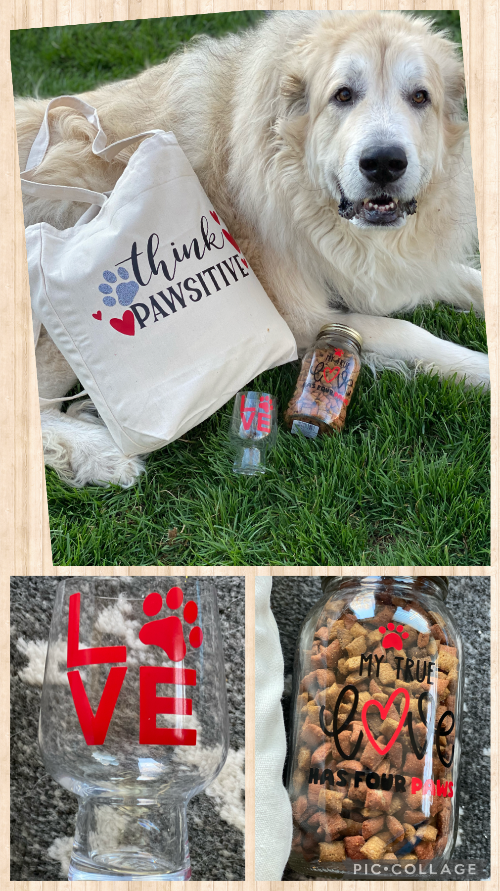 Create your own dog treat jar, tote and wine glass!